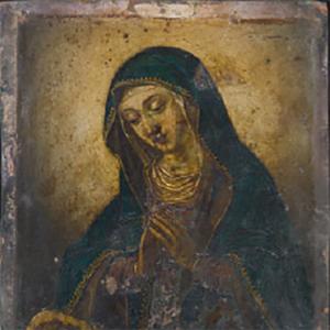 Madonna in preghiera con il bambino dormiente